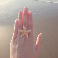 The Mermaid's Starfish Ring II - Starfish Ring - Mermaid Ring - Beach Boho Wedding Bridal Jewelry - Cute Adorable Romantic Whimsical Dreamy