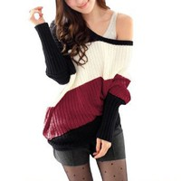 Allegra K Ladies Slant Stripes Pullover Long Sleeve Leisure Knit Autumn Sweater Red XS: Clothing
