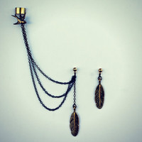 bird and feather ear cuff earrings, chains ear cuff, feather ear cuff, bird earrings, tribal earrings