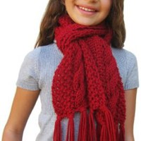 Amazon.com: Handmade Scarf in All-favorite Cable Design - Cranberry Red (100% Hand-knitted): Clothing