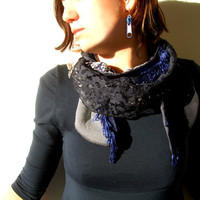 Navy Scarf Recycled Fabric  Women Tie Style by studiolana on Etsy