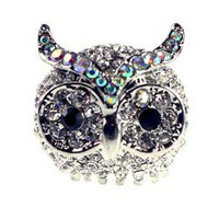 Large Rhinestone Owl Ring: Silver