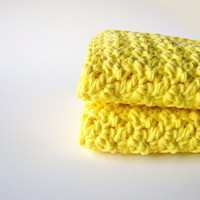 Yellow Handmade Washcloths / Crochet Soft by MyHobbyShop on Etsy