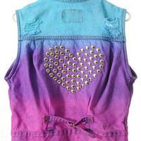Dip Dye Denim Vest w/ Heart Studs