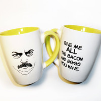 $15.00 Ron Swanson Breakfast mug by PeachyApricot on Etsy