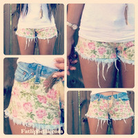 low rise cut off shorts made to order Floral print by FatLipBella