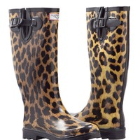 Women&#x27;s Leopard Design Flat Wellies Rubber Rain &amp; Snow Boots RainBoots