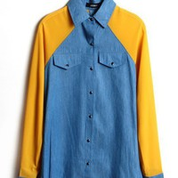 #Free Shipping#Women Yellow Chiffon and Jean Tops M/L VF5033y from ViwaFashion