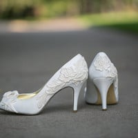Wedding Shoes - Ivory Bridal Shoes, Wedding Shoes with Ivory Lace. US Size 10