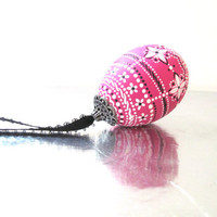Decorated Egg: Hand Painted Real Egg Ornament Pink White and Black Decorated Egg
