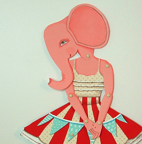 Ellie Elephant DIY Articulated Paper Doll by cartbeforethehorse