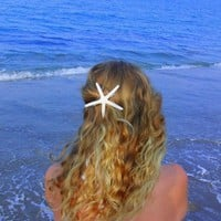 White skinny starfish barrette by LandlockedMermaids on Etsy