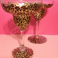 Hand Painted Leopard Print Margarita Glasses