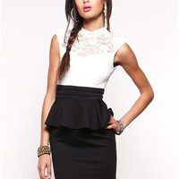 A'GACI Mock Neck Lace Peplum Dress - Dresses