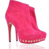 Shoes : High Heel Boots : 'Superstar' Fuchsia Pink Gold Studded Suede Booties