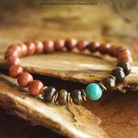 Goldstone, Jasper and Magnesite Meditation Bracelet