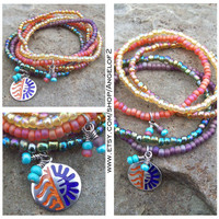 Gypsy Sun Beaded Stacking Stretch Bracelets