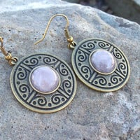 Rose Quartz - Drop Bronze Medallion Earrings