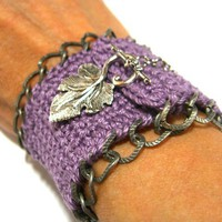Handmade Crochet Cuff Bracelet in Lavender with by JustColor