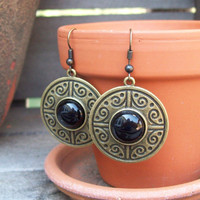 Gypsy Woman - Black Onyx Medallion Dangle Earrings