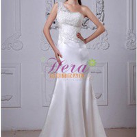 Elegant A-line Applique One Shoulder Sweetheart Ivory Satin Wedding Dress