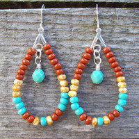 Southwestern Boho Teardrop Beaded Hoop Earrings - Brick, Turquoise and Speckled Oat