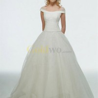 Elegantly Simple Off The Shoulder Sleeves Cinderella Wedding Dress