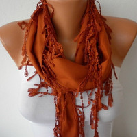 Burnt Umber Scarf - Pashmina Scarf - Headband Necklace Cowl with Lace Edge/75932541