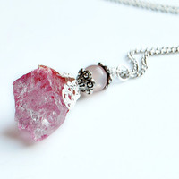 LOVE SPELL - Quartz Crystal Necklace // Pink Natural Metaphysical Spiritual Healing Properties