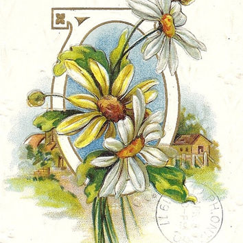 Easter Joy be Thine, J J Marks Vintage Postcard, cancel 1911, embossed daisy flowers