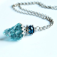 CALMING WATERS - Quartz Crystal Necklace // Blue Turquoise Natural Metaphysical Spiritual Healing Properties