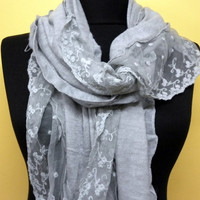 Women Shawl Scarf - Headband Necklace Cowl with Lace/75814649
