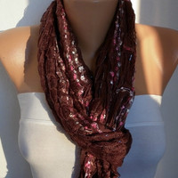 Women  Scarf  - Shawl  - Cowl - Neckwarmer - Silvery - Brown/75780473