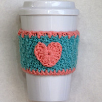 Aqua and Pink Crochet Heart Coffee Cup Cozy