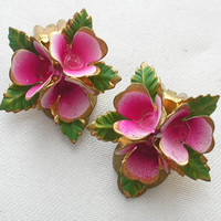 Vintage Pink Flower Earrings by BlueAngelJewellery on Etsy