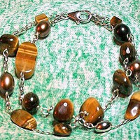 Tiger Eye 2 Strand Bead Bracelet and Hoop Earring Set, Sterling Silver