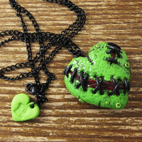 Zombie Stitches Locket Necklace by rapscalliondesign on Etsy