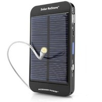 ReVIVE Series Solar ReStore External Battery Pack with Universal USB Charging Port for Portable Smartphones / E-readers / MP3 Players and More USB Powered Devices