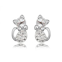 Cute Kitten Earrings with Swarovski Elements