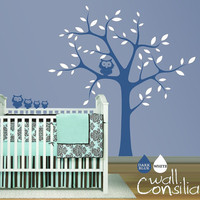Nursery Tree with Owls Wall Sticker Tree Wall by WallConsilia