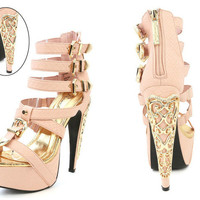 Powder Pink Strappy Snake Skin Platform Heels