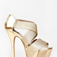 NEW QUPID Women Party Wide Strap Platform Metallic High Heel Sandals Gold Koy19