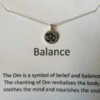Sterling Silver Om Necklace, Balance, Best Friend Gift, Yoga, Mother's Day Gift