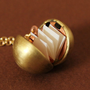 Secret Message Locket  Gold Ball Locket by HeartworksByLori