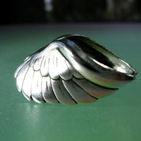 Classic Angel wing silver ear cuff earring jewelry by RingRingRing
