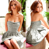 Lady Embroider Flower Elegant Chiffon Ribbon Strapless Cocktail Mini Dress