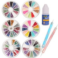 6 Wheels Combo Set Nail Art Nailart Manicure Rhinestones Glitter Tips Deco + 2x Dotting Pen + Glue