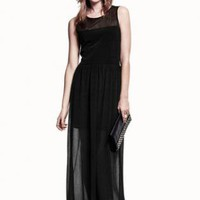 Starry Black chiffon sleeveless long dress