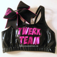 Twerk Team  Metallic Sports Bra and Bow Set by SparkleBowsCheer