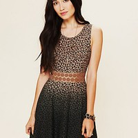 Free People Leopard Daisy Fit and Flare Dress